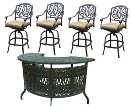 Patio bar set Elisabeth outdoor furniture 5pc 1 table and 4 swivel bar stool's. image 1