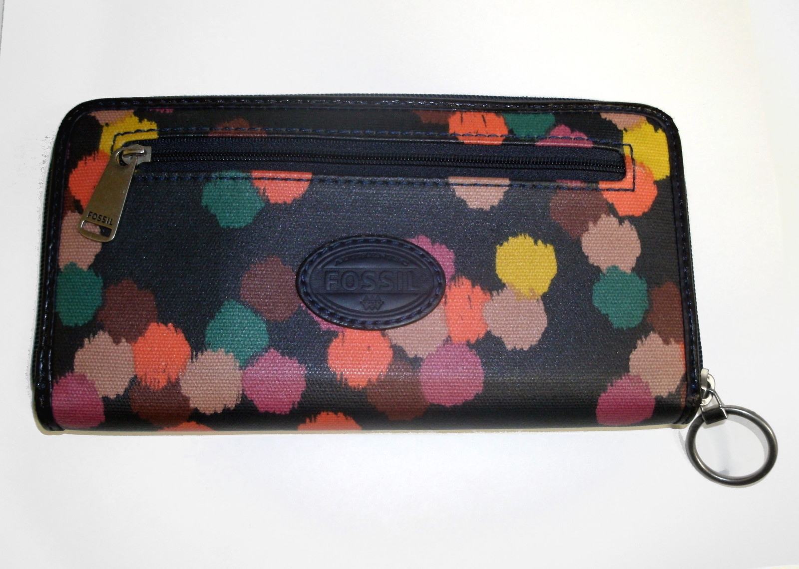 Fossil Coated Canvas Navy Ziparound Accordion Clutch Large Wallet