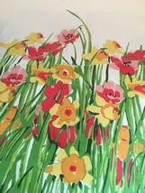 "Vera Neumann Vintage Kitchen Napkin Ladybug Spring Flowers 19 X 16 1/2"" - $10.88"