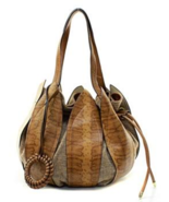 Chic Fiore Camel Leather Petal Drawstring Bucket Bag In 3 Colors -EXTRA ... - £38.31 GBP