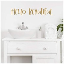 "Hello Beautiful Motivational Vinyl Lettering Wall Decal Sticker (3.75"" H... - $17.78"