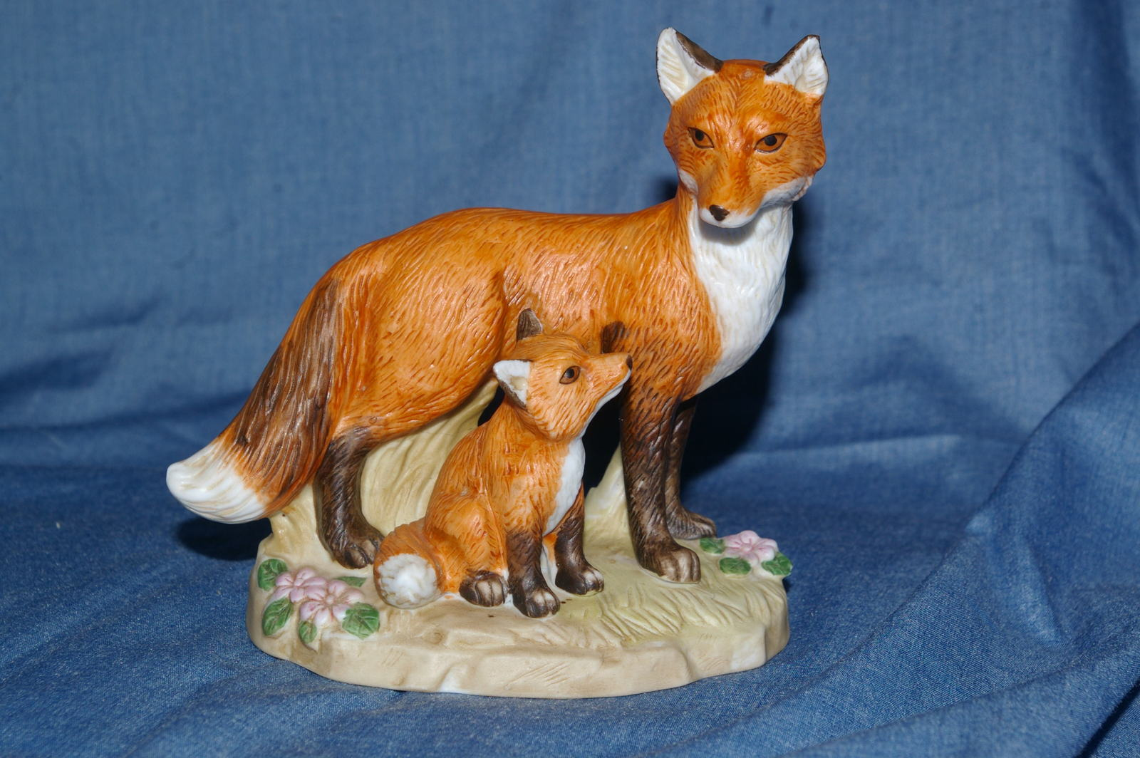 Primary image for Homco Mother and Baby Fox Figurine #1417 Home Interiors
