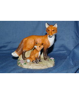 Homco Mother and Baby Fox Figurine #1417 Home Interiors - $10.99