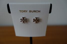 Tory Burch T-LOGO Stud Earrings Rose Silver Tone. New - $45.99