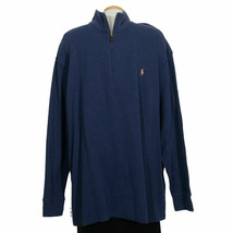 POLO RALPH LAUREN Blue Cotton Estate Rib Half Zip Pullover Sweater 3XB - $59.99