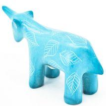Tabaka Chigware Hand Carved Kisii Soapstone Sky Blue Unicorn Figurine Made Kenya image 3