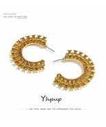 Yhpup® Earrings Glass Rhinestone Stud Earrings C Shape Luxury Bridal Cha... - $3.77