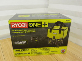 Ryobi ONE+ 18V Lithium-Ion 4.0Ah Battery - 2 Pack With Charger And Carry... - $93.49