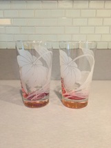 Vintage 70s set of 2 Color Base (pink) with etched flower cocktail glasses