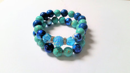 Turquoise Magnesite,Painted Glass Beads,Teal Fossil Stone Bracelet Set - $25.00