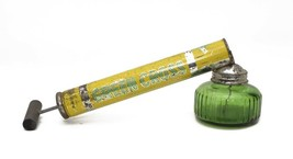 Vintage Green Cross Pump Bug Sprayer Green Glass Jar Wooden Handle USA W... - $22.28