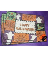 Happy Halloween Tapestry Placemat set 4 table 13x19 home decor gift H30 - $21.77