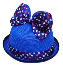 Summer Fashion Sun Hat For Kids With Bowknot Decor&Wave Point Pattern Deep Blue