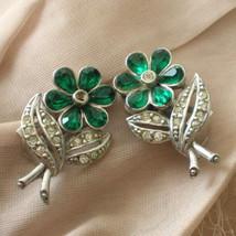 Vintage Art Deco Green Rhinestone Flower Earrings - $40.00