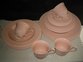 Mikasa Potpourri Rose Blush 20-pc set Japan FS125 Pink RibsLarry Laslo E... - $79.99