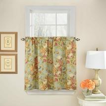 Waverly Spring Bling Vapor Tier Curtain Set Kitchen Cotton Blue Floral NIP 52X36 - $24.74