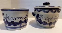 German Salt Glazed Pottery Cobalt Blue Gray Marmelade Honigdibbche Honey - $24.74