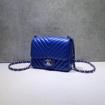 NEW AUTHENTIC CHANEL BLUE CHEVRON QUILTED CAVIAR SQUARE MINI CLASSIC FLAP BAG  image 3