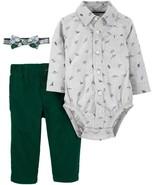 Carter's Baby Boy Outfit Set 6m 3 Piece Dino Dinosaurs Bodysuit Bowtie P... - $24.99