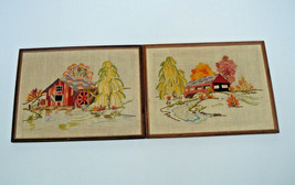 vintage finished crewel embroidery  framed pictures covered bridge and w... - £27.51 GBP