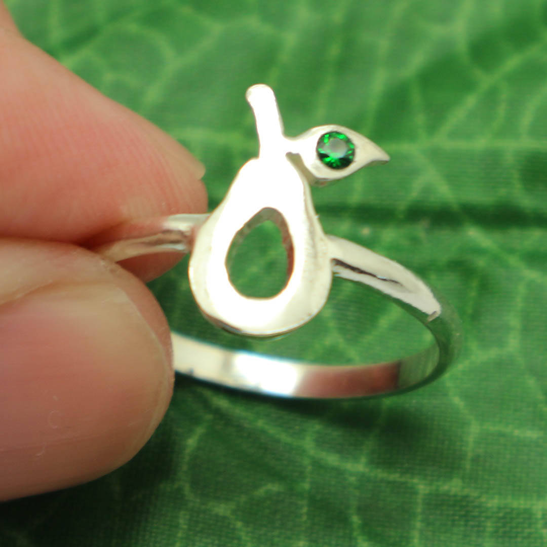 Handmade 925 Sterling Silver Avocado Ring US 4 - 14 Fruit Jewelry