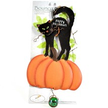 Happy Halloween Black Cat & Pumpkin Bouncy Garden Hanging Sign Home Decor - $11.87