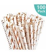 100 PCS Biodegradable Paper Straws - Rose Gold Drinking Straws, Metallic... - $6.73