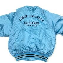 VINTAGE King Louie Limon Livestock Exchange Satin Bomber Jacket Size Med... - $64.38