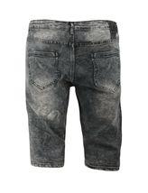 Men's Distressed Denim Faded Wash Slim Fit Moto Quilt Skinny Jean Shorts image 9
