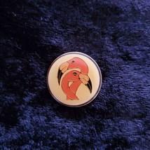 Vintage Round Pink Flamingo Hat Lapel Collector Pin Pinback Bird  - $16.82
