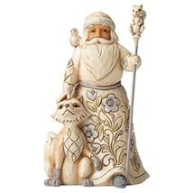 Jim Shore Heartwood Creek White Woodland Santa with Fox Stone Resin Figu... - $32.76