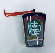 Starbucks 2018 Glitter Acrylic Cup Holiday Christmas Tree Ornament NEW - $13.25