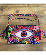 Authentic 100% Wayuu Crossbody Clutch Bag Medium Size Evil Eye floral Ta... - $50.00