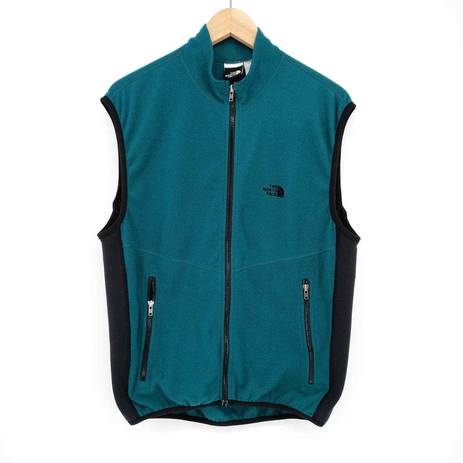 Vintage North Face Fleece Jacket Vest Outdoor Hiking Camping Teal USA Men's L - $59.39