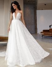 Glitter Shiny Lace Sexy Illusion Deep V-neck Sleeveless A-line Beach Bridal Gown image 3