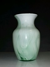 "Indiana Glass 8"" Vase #31007 Crystal Reverse Paint White w/Green Swirls - $7.43"
