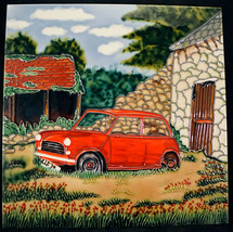 Benaya Hand Crafted Art Ceramic Tile Wall Plaque Red Car out Back by Shed  - $29.99