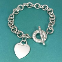 Medium Tiffany & Co Sterling Silver Blank Heart Tag Toggle Charm Bracelet - $375.00