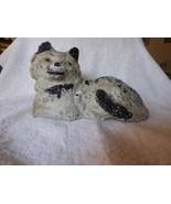 "Antique Folk Art Solid Chalkware 10"" CAT Figurine White Black Stripe Yel... - $125.00"