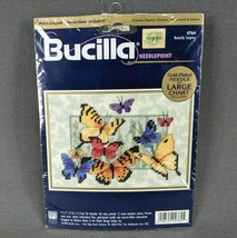 Bucilla 4764 Needlepoint Butterfly Surprise LARGE Chart with Gold Plated Needle  - $11.60