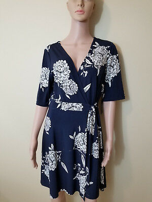 Primary image for new VINCE CAMUTO women dress VC8M7429 navy blue white flowers 14 MSRP $128