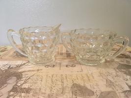 Vintage Jeannette Glass Cubist DesIgn Clear Glass Sugar & Creamer Set  - $8.00
