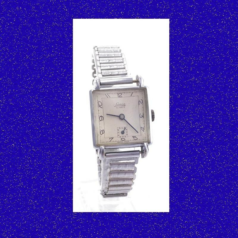 Primary image for Stunning Steel  Deco Lanco Gents Flared Lugs Watch & Bonniklip Bracelet 1949