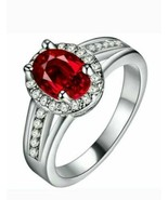 red sapphire 925 SS ring sz 7 - $19.99