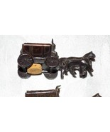 Vintage Metal Wagon Train w Horses Salt Pepper Shakers Set Complete w Corks - $17.66