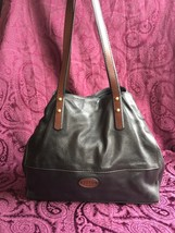 Fossil Zoey Long Live Vintage Black / Brown Leather Tote Bag, EUC - $63.70