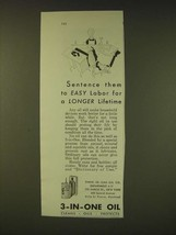 1931 3-in-one Oil Ad - Sentence them to easy labor for a longer lifetime - $14.99