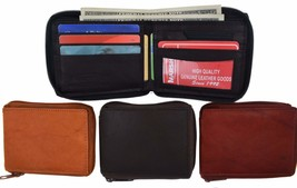 Zip Around Bifold Wallet with Card Slots and Zipped Coin Space for Men 1... - $9.99
