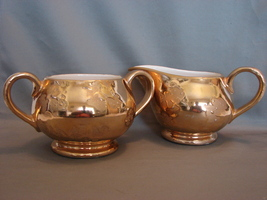Sugar and Creamer Set 24k Gold Plated McCoy - $9.99