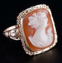 Vintage 1930's 10k Yellow Gold Oval Cameo Cut Shell Female Bust Cameo Ri... - $380.00